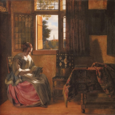 ピーテル・デ・ホーホ《窓辺で手紙を読む女》(ブダペスト美術館蔵)