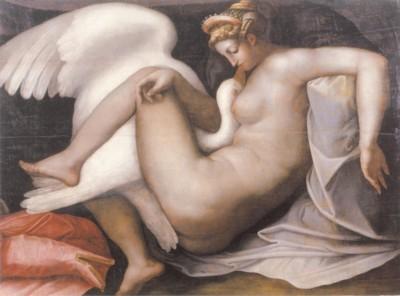 逸名のヴェネツィアの画家《レダと白鳥》(コッレール美術館蔵)