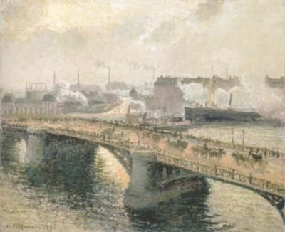 カミーユ・ピサロ《ルーアンのボワルデュー橋、夕日、霞のかかった天気》