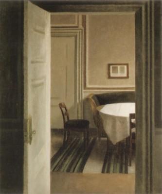 ヴィルヘルム・ハンマースホイ《室内、ストランゲーデ30番地》(オルセー美術館蔵)