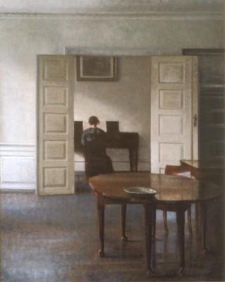 ヴィルヘルム・ハンマースホイ《ピアノを弾くイーダのいる室内》(国立西洋美術館蔵)