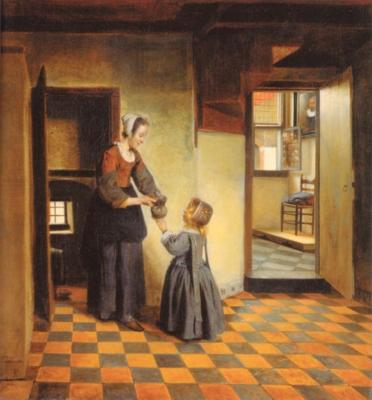ピーテル・デ・ホーホ《食糧貯蔵庫の女と子供》(アムステルダム国立美術館蔵)