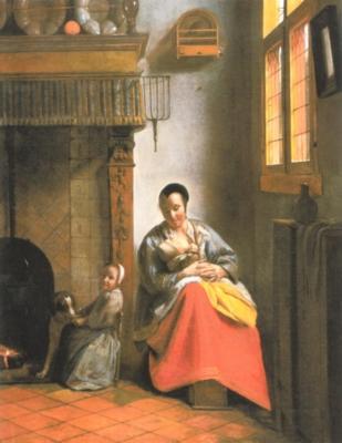 ピーテル・デ・ホーホ《幼児に授乳する女性と子供と犬》(サンフランシスコ美術館蔵)