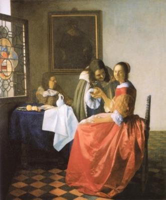 ヨハネス・フェルメール《ワイングラスを持つ娘》(アントン・ウルリッヒ美術館蔵)