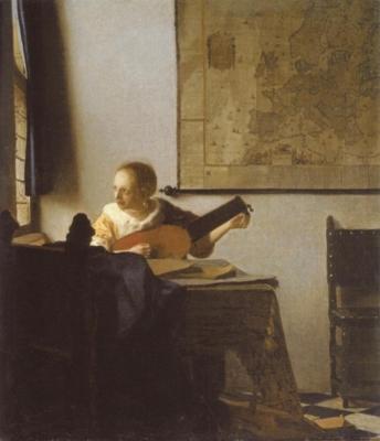ヨハネス・フェルメール《リュートを調弦する女》(メトロポリタン美術館蔵)