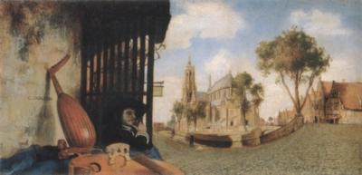 カレル・ファブリティウス《楽器商のいるデルフトの眺望》(ロンドン・ナショナル・ギャラリー蔵)