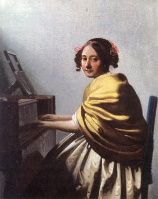 ヨハネス・フェルメール《ヴァージナルの前に座る若い女》(個人蔵)