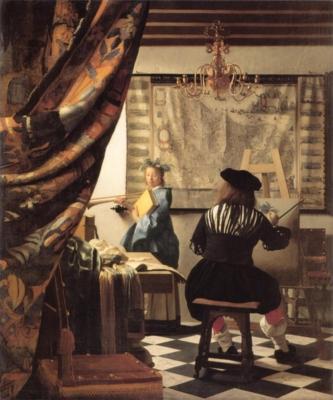 ヨハネス・フェルメール《画家のアトリエ(絵画芸術)》(ウィーン美術史美術館蔵)