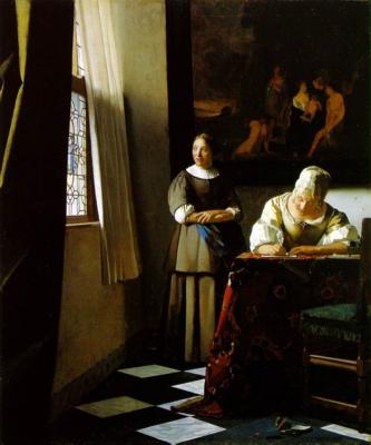 ヨハネス・フェルメール《手紙を書く婦人と召使い》(アイルランド・ナショナル・ギャラリー蔵)